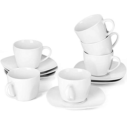 Malacasa 12-Piece Tea Cups and Saucers Sets 7 oz White Coffee Cups Ceramic Drinkware Set Service for 6, Series Elisa