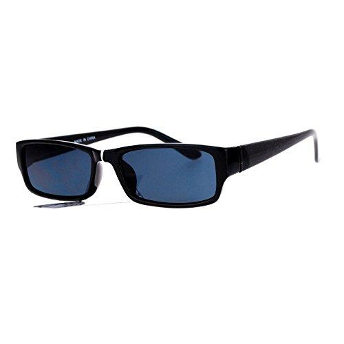Small Rectangular Sunglasses Unisex Plastic Frame Spring Hinge Black UV - Black Plastic Frame