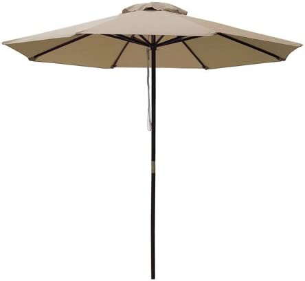 96 Brown Solid Wood Pole Tan 9 Feet Octagon Round Polyester Umbrella w/Pulley
