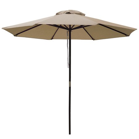 "96"" Brown Solid Wood Pole Tan 9' Feet Octagon Round Polyester Umbrella w/ Pulley for Outdoor Patio Furniture Lawn Garden Yard Beach Stall Café UV Block Sun Shade Review"