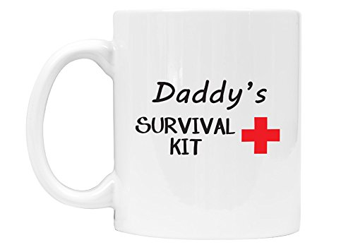 First Christmas Mug (Daddy's Survival Kit - Funny 11 oz Coffee Mug, Gift for Dad, Co-Worker, Christmas, New Dad, First Father's Day - DSM14_M)