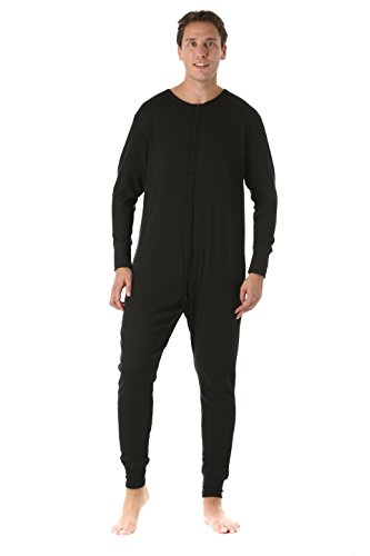 #followme 9393-BLK-XXL Men's Solid Thermal Henley Onesie Black