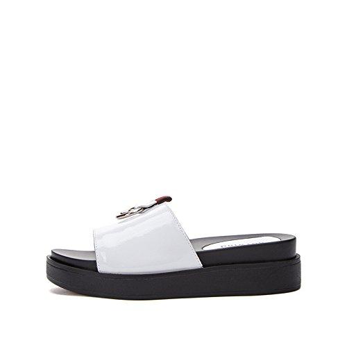 37 moda casual Pantofole piatti a basso con tacco Sandali DHG da alti tacco donna Sandali Sandali bianca Tacchi alla basso estivi fqAYRwz