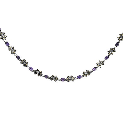 Sterling Silver Cubic Zirconia Amethyst Flower Marcasite Necklace, 16 inches long by Sabrina Silver