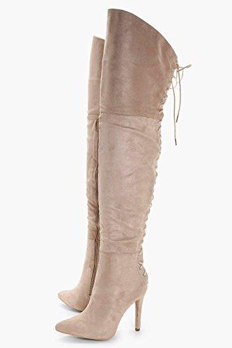 Stein Damen Sadie Overknee-Stiefel mit rückseitiger Schnürung Stein