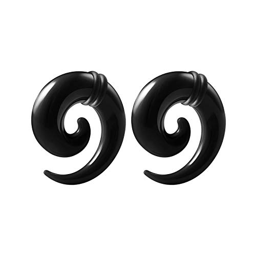BIG GAUGES Pair of Black Acrylic Solid Zero Gauge 8mm Spiral Coil Taper O-Rings Piercing Jewelry Stretcher Ear Plug Earring BG1680