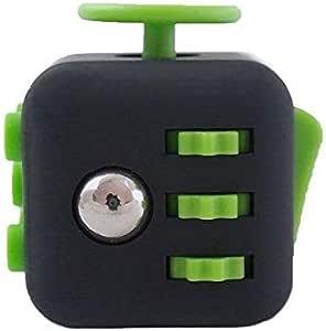 Fidget Cube Focus Fidget Toy Cube Prime Reliever 6 Side Phone Stress Ball 1 Pack مكافحة القلق والاكتئاب النرد للأطفال الطلاب البالغين أسود وأخضر