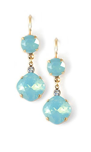 Clara Beau Fabulous large round and Square swarovski crystal drop earrings ES60 GoldTone - PacOp