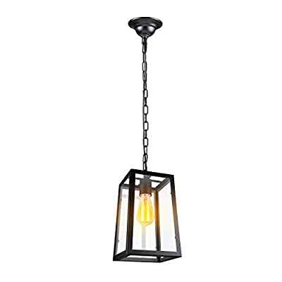 Paragon Home Modern Glass Pendant Light, Metal Iron Frame Hanging Lights with Clear Glass Panels, Matte Black, Dining Room Lighting Fixture Chandelier, E26 Base (Bulb Not Included)