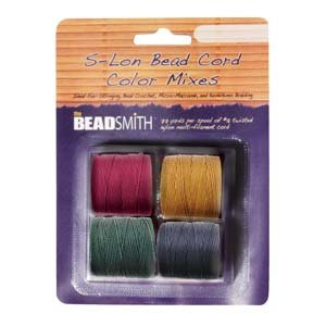 4 Spools Super-lon #18 Cord Ideal for Stringing Beading Crochet and Micro-macram Jewelry Compatible with Kumihimo Projects S-lon Dark Mix
