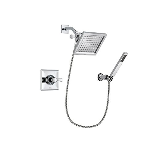 Delta Arzo Chrome Finish Thermostatic Shower Faucet System Package with 6.5-inch Square Rain Showerhead and Modern Handheld Shower Spray with Wall Bracket and Hose Includes Rough-in Valve DSP0120V