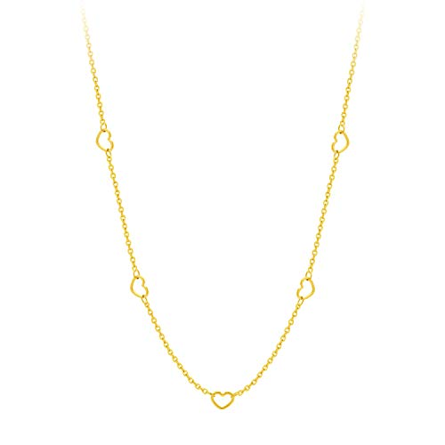 (555Jewelry Womens Stainless Steel Chain Link Multiple Hollow Love Heart Shape Section Pendant Single Clasp Lock Jewelry Accessory Girls Teens Women Adults Necklace, Yellow Gold 18 Inch)