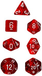 (Chessex: 7-Die Set Translucent: Red and White)