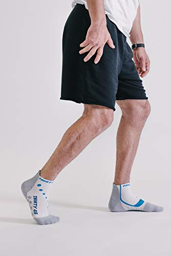 Thirty 48 Compression Low-Cut Running Socks for Men and Women (Small - Women 5-6.5 // Men 6-7.5, [1 Pair] Blue/White) by Thirty 48 (Image #6)