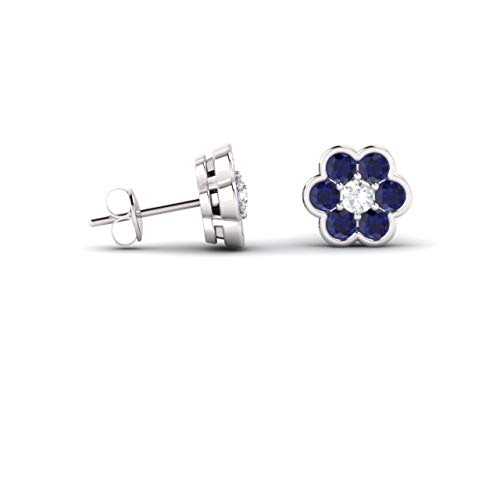 (Diamondere Natural and Certified Diamond and Blue Sapphire Floral Petite Earrings in 14K White Gold | 0.33 Carat Seven Stone Earrings for)