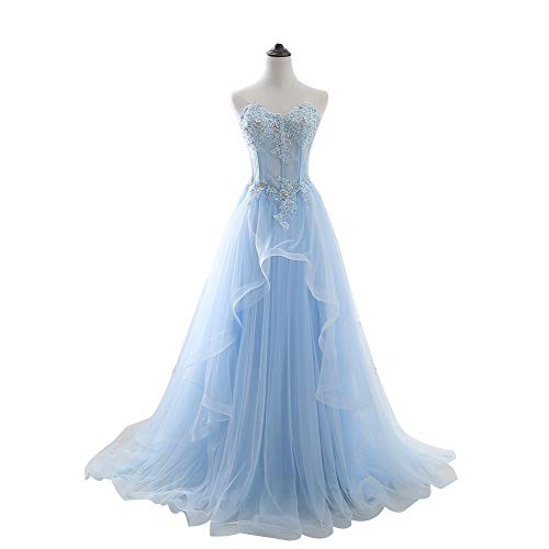 YUEZHIMENG Haute Couture Women's Wedding Lace Strapless Elegant Temperament Princess Wedding Dress Adult Dress Evening Dress,US12