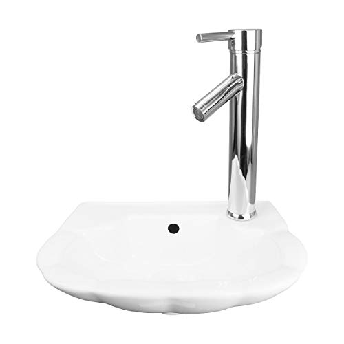 (Small Wall Mount Bathroom Sink White Periwinkle Design 14 1/4 W Renovator's Supply)