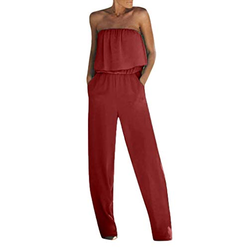 (Aniywn Jumpsuits for Women, Ladies Summer Sleeveless Backless Loose Long Rompers Strapless Beach Wide Playsuits Red)