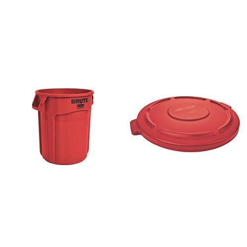 Rubbermaid Commercial BRUTE Trash Can, Vented, 20 Gallon, Red with Lid (FG262000RED & FG261960RED) 20 Gal Receptacle Lid