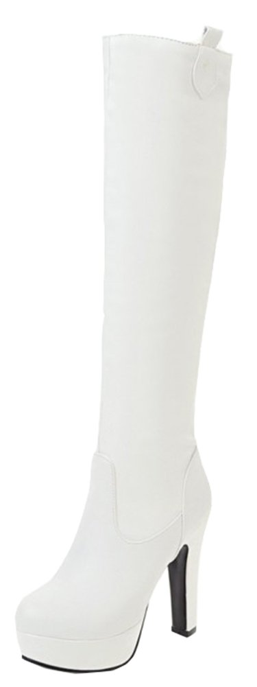 SHOWHOW Women's Sexy Round Toe Platform High Chunky Knee High Boots White 5.5 B(M) US
