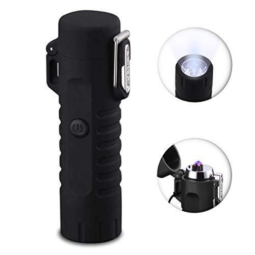 (Dual Arc Lighter, USB Lighter Rechargeable Flameless Waterproof Mini Electric Lighter With Flashlight for Cigar Camping Hiking Adventure Outdoor Survival(Black))