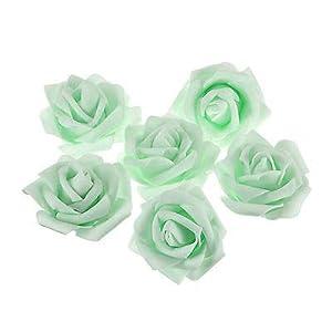 FidgetGear Wholesale 25~400PCS Foam Artificial Rose Head Flower Home Wedding Party Decor Light Green 400 pcs 12