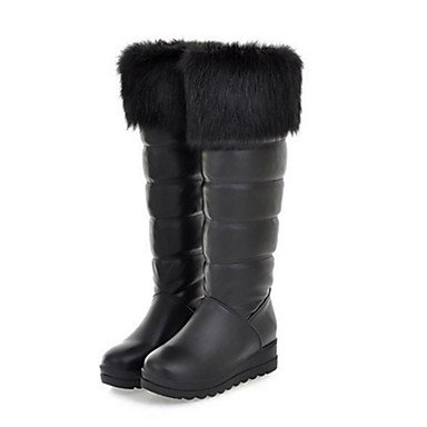 RTRY Zapatos De Mujer Feather/Fur Pu Novedad Moda Otoño Invierno Confort Cuña Botas Botas Botas De Tacón Puntera Redonda Mid-Calf Pluma Para Oficina &Amp; US6 / EU36 / UK4 / CN36