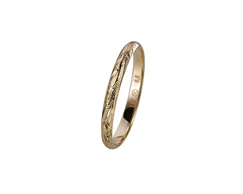 14K solid yellow gold hand engraved Hawaiian princess scroll band ring 2mm size 7