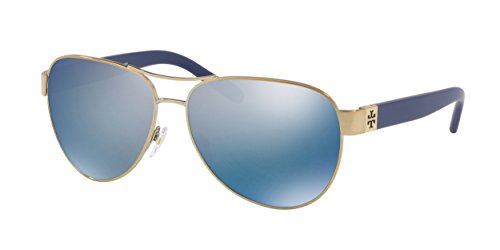Tory Burch Women's 0TY6051 Gold/Blue Flash Polarized Mirror - Aviators Blue Flash