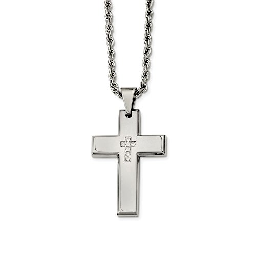 ICE CARATS Stainless Steel Cross Religious Czs Pendant Chain Necklace Charm Fancy Man Crucifix Fashion Jewelry Gift for Dad Mens for Him