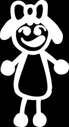 Girl with bow Stick Figure Family stick em up White vinyl Die Cut vinyl Decal sticker for any smooth surface