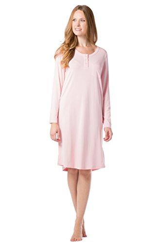 Fishers Finery Women's Henley Night Shirt Long Sleeve; Below Knee (Pink, XS)