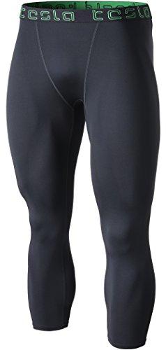 Coldgear Legging Girls (TM-MUC08-CHC_2X-Large Tesla Men's Compression Capri Shorts Baselayer Cool Dry Sports Tights MUC08)