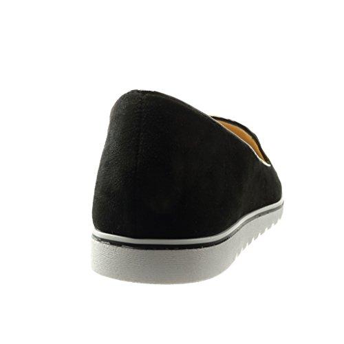 Angkorly - damen Schuhe Mokassin - Slip-On - sneaker Sohle - bestickt - Schmuck - Perle Keilabsatz high heel 2 CM - Schwarz