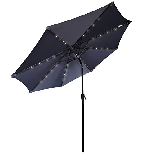 COBANA 9 Ft Patio Umbrella Solar Powered 32 LED Lighted Aluminum Tilting Outdoor Table Umbrella with Tilt and Crank, Navy