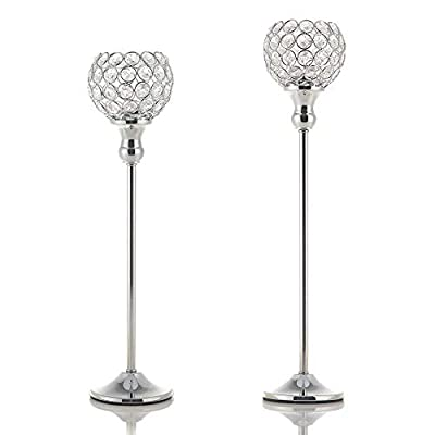 VINCIGANT Bowl Ball and Wine Glass Ball Crystal Silver Candle Holders Set of 2