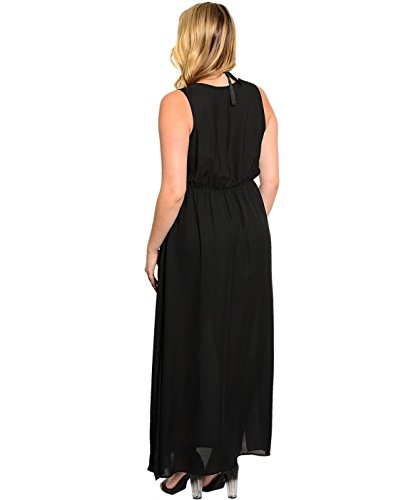 2LUV Plus Women's Elastic Waist Long Sleeveless Dress With Necklace Black 3XL (WD1067)