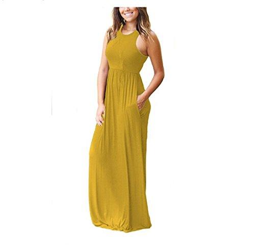 Robe Rojeam Yellow Boho Femme avec des Longue d't Poches Robe Plage ATwrUnST5q