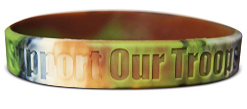 Novel Merk Support Our Troops Desert, Camouflage & Yellow Silicone Rubber Band Wristband Bracelet Accessory (2 Camouflage) (Troops Button)