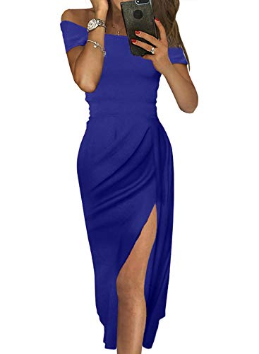 Tiksawon Bodycon Dresses for Women Off Shoulder Short Sleeve Fashion Sequin Slit Midi Dress Wedding Party Cocktail Evening Grown Blue S