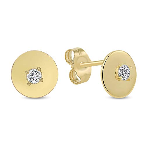 TousiAttar 14k Yellow Gold Circle Earrings - 0.10 CT White Diamond Nice Women Jewelry - Cute Studs for Everyday - April -
