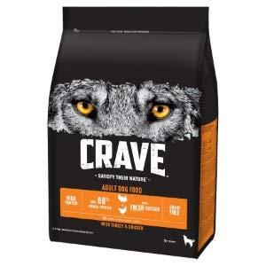 Crave Komplettes Trockenfutter für ausgewachsene Hunde, mit Truthahn und Huhn, 2,8 kg