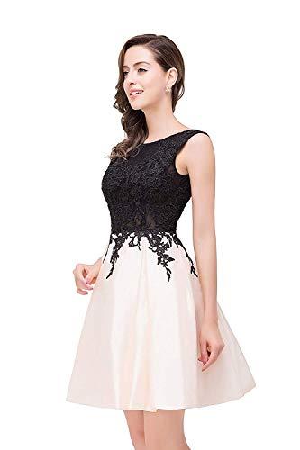 Elegante Línea Y Tafetán Corto Mangas Noche Bonito Mode Vintage Moda Marca Fino Vestido Negro De Cuello Encaje Una Cóctel Sin Dama Honor Redondo EqwxFa