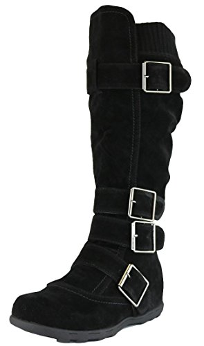 Cambridge Select Women's Buckle Sweater Knee High Flat Boot (6 B(M) US, Black)