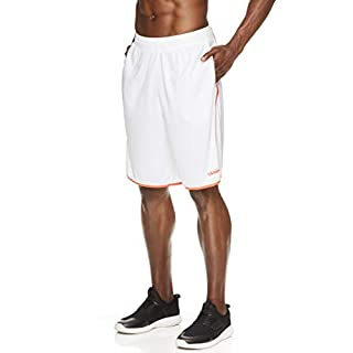 AND1 Men's Basketball Gym Fitness & Running Shorts w/Elastic Waistband & Pockets - White/Coral Mesh, X-Large