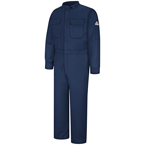 Bulwark Flame Resistant 7 oz Cooltouch 2 Long Deluxe Coverall with Concealed Snap Closure On Sleeve Cuff, Navy, Size 46