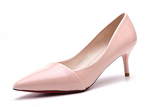 AalarDom Womens Pu High-Heels Pointed-Toe Pull-On Pumps-Shoes Lightpink-bows L5H9fAnG