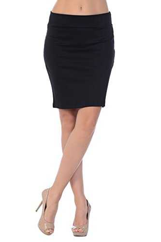 Jubilee Couture Women's Ponte Roma Mini Pencil Skirt (Large, Black)