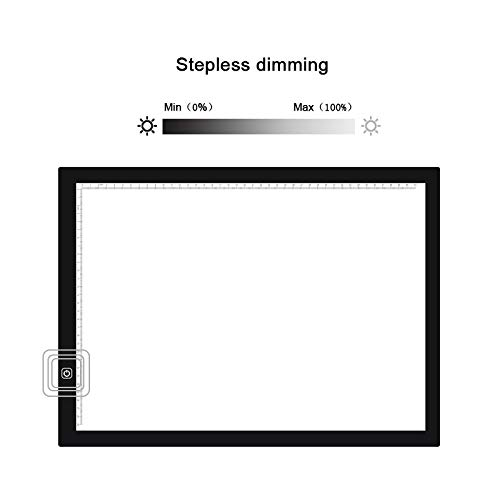 NGAU Light Box Tracer Drawing Light Pad A3 Size 8W 5V LED Ultra-Thin Stepless Dimming Acrylic Copy Boards for Anime Sketch Drawing Sketchpad, with USB Cable & by NGAU
