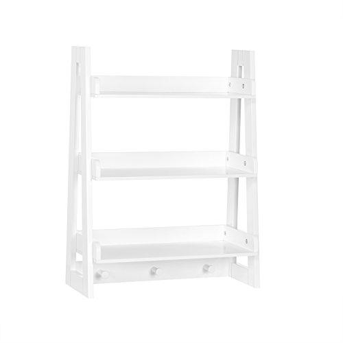 RiverRidge Wall Shelf with Hooks for Kids, White